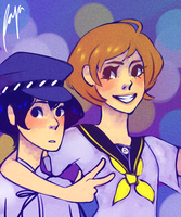 Chie/Naoto (request) by bioshcock