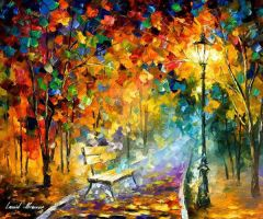 Bench Of Lost Love by Leonid Afremov by Leonidafremov