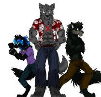 Art Trade: William, Wulf and Ravenfur by Firewolf-Anime