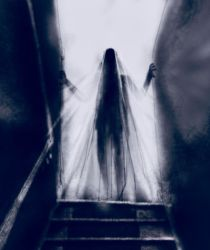 Ghost on the stairs by JeremyWDunn