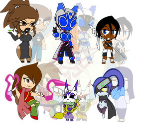 Assorted Chibis - Big Babes and Warriors by Dragon-FangX