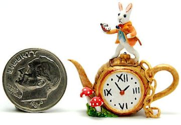 white rabbit pocket watch wonderland teapot by WEE-OOAK-MINIATURES
