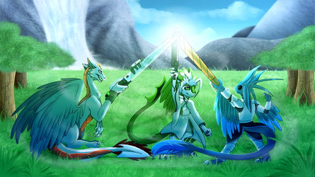 :Commish: - The Raptorian Musketeers (1/4) by Venus-Dragoness