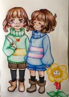 Chara, Frisk and Flowey by narcyzus