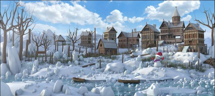 Snow Rustic Wood Town by MarcMons007