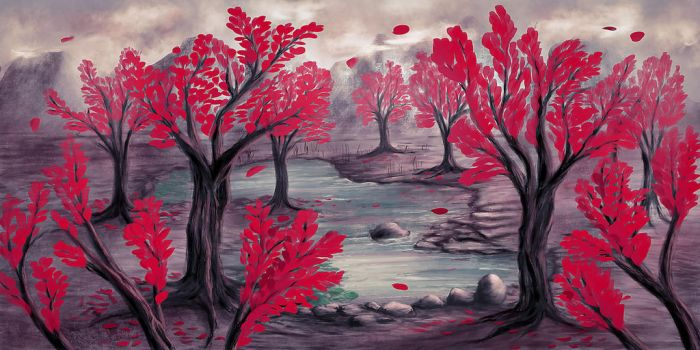 Red trees and turquoise pond by unikatdesign