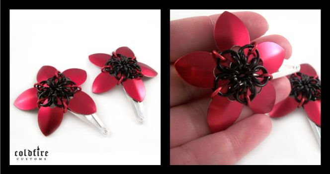 Red and Black Flower Clips by coldfirecustoms