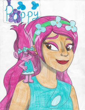 My drawing of me and Poppy with Poppy's autograph by Magic-Kristina-KW