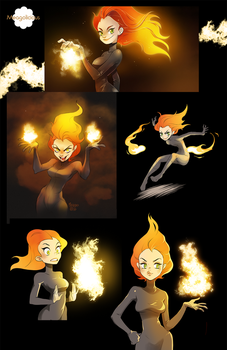 Flame girl Pyria + some fire brushes by meago