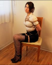 drezzy with white blouse, pouting on chair by Sir-Darcy