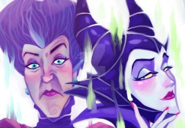 Maleficent and Lady Tremaine by Witchin