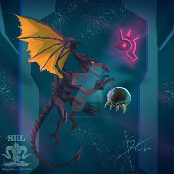 Ridley and Metroid by SEL-artworks