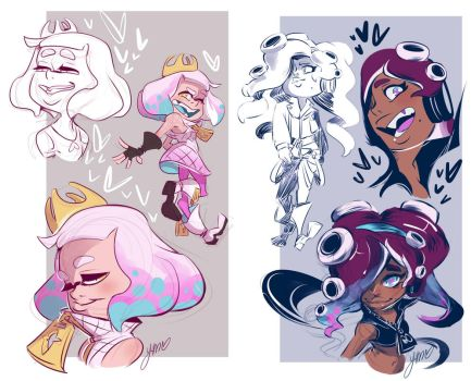 Splatoon 2 - Pearl and Marina Sketches by YAMsgarden