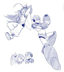 Blue Fencer and Blue Bomber by witch-girl-pilar