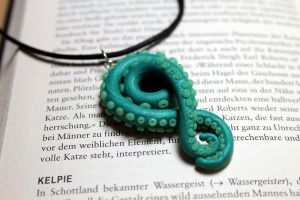 Tentacle necklace teal by Sakiyo-chan