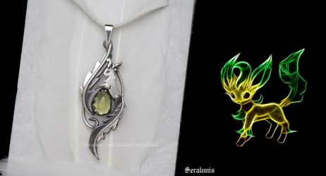 'Tiny Leafeon', handmade sterling silver pendant by seralune