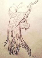 5 Minute Drawing - MLP - Queen Chrysalis by missbrony28