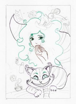 Female Hatter and Cheshire Cat WIP by ATatteredCanvas