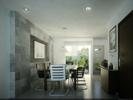 3D Gray Dining Room by JeSSanchez