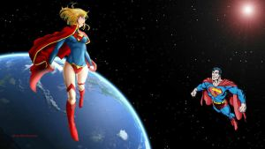 Supergirl Wallpaper - Superman In Space by Curtdawg53