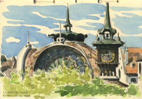 Evian (watercolor sketch on location) by Uehara