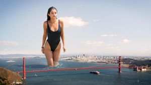 Giantess Gomez Gradually Grazes Golden Gate by docop