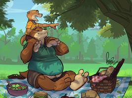 Picnicking Otters by benj24