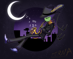 Art Trade--Saxophonist on the Roof by Zerna
