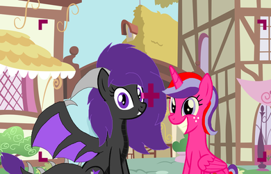 Picture Time with Dusk and Strawberry by Strawberry-T-Pony