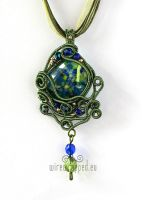 Green and blue wire wrapped pendant by ukapala