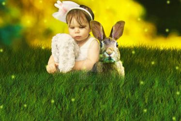 Child with her rabbit by TuSheaCrafts