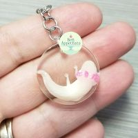 Commission - Axolotl Resin Key Chain by PepperTreeArt