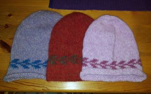 Three Mary hats in a row by KnitLizzy