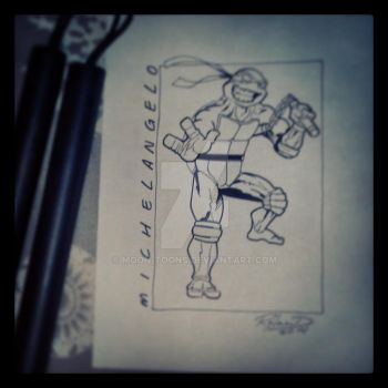 Michelangelo (inked over pencil) by Moon-Toons