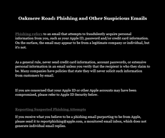 Oakmere Road Phishing and Other Suspicious Emails by levicrisp05
