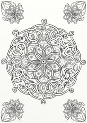 Celtic Knot Flower Design Coloring Page by LorraineKelly