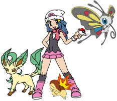 Dawn and her new Pokemon