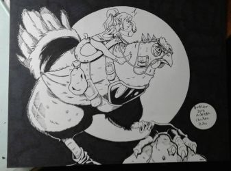 Inktober 2018 No.5 Chicken by MikeES