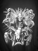 Biker Skull - Black and White by Leggyboy