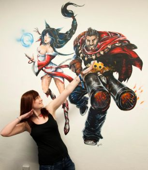 Ahri and Graves (League of Legends) Wall Painting by PocketKaori