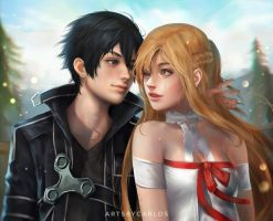Kirito and Asuna by artsbycarlos
