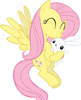 Fluttershy holding Angel... by jlee104