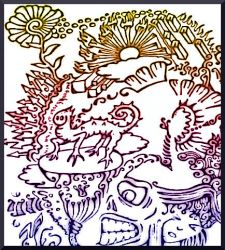 Sweet Curly whirly Clutter doodle of springing joy by MushroomBrain