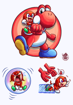 [YI x bS] Red Yoshi and baby Knuckles by Music-Yoshi-Z
