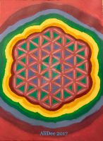 Colorful Flower of Life in Acrylic by AliDee33