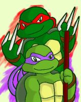 oekaki drawing of Raph and Don by koju327