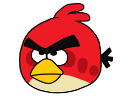 Red Angry Bird fan art by leonalmasy