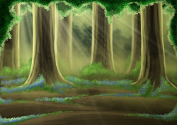 Free Bluebell Forest Background by SweetLittleVampire