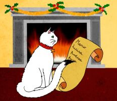 The cat of Santa Claus by eugeal
