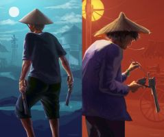 Old Asian Gunslingers by gavinli